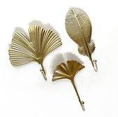 Set van 3 goudkleurige wandhaken   Wandhaken bladeren   Kapstokhaken goudkleurig   Metalen wandhaak
