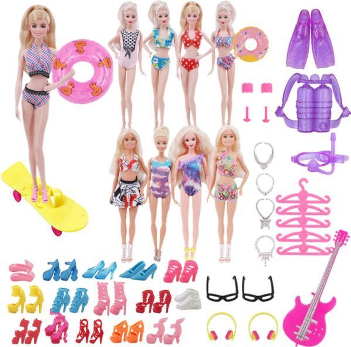 Dolldreams - Zomer Accessoires set voor Barbie met strand kleding, duikset, jurkjes, zwembanden, sieraden etc.