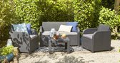 LOUNGE SET CAROLINA - GRAFIET - MET KUSSENS - KUNSTSTOF - ALLIBERT BY KETER