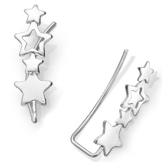 EAR IT UP - Oorklimmers - Sterren - Ear climbers - Earclimbers - Ear crawlers - 925 sterling zilver - 20 x 6,5 mm - 1 paar