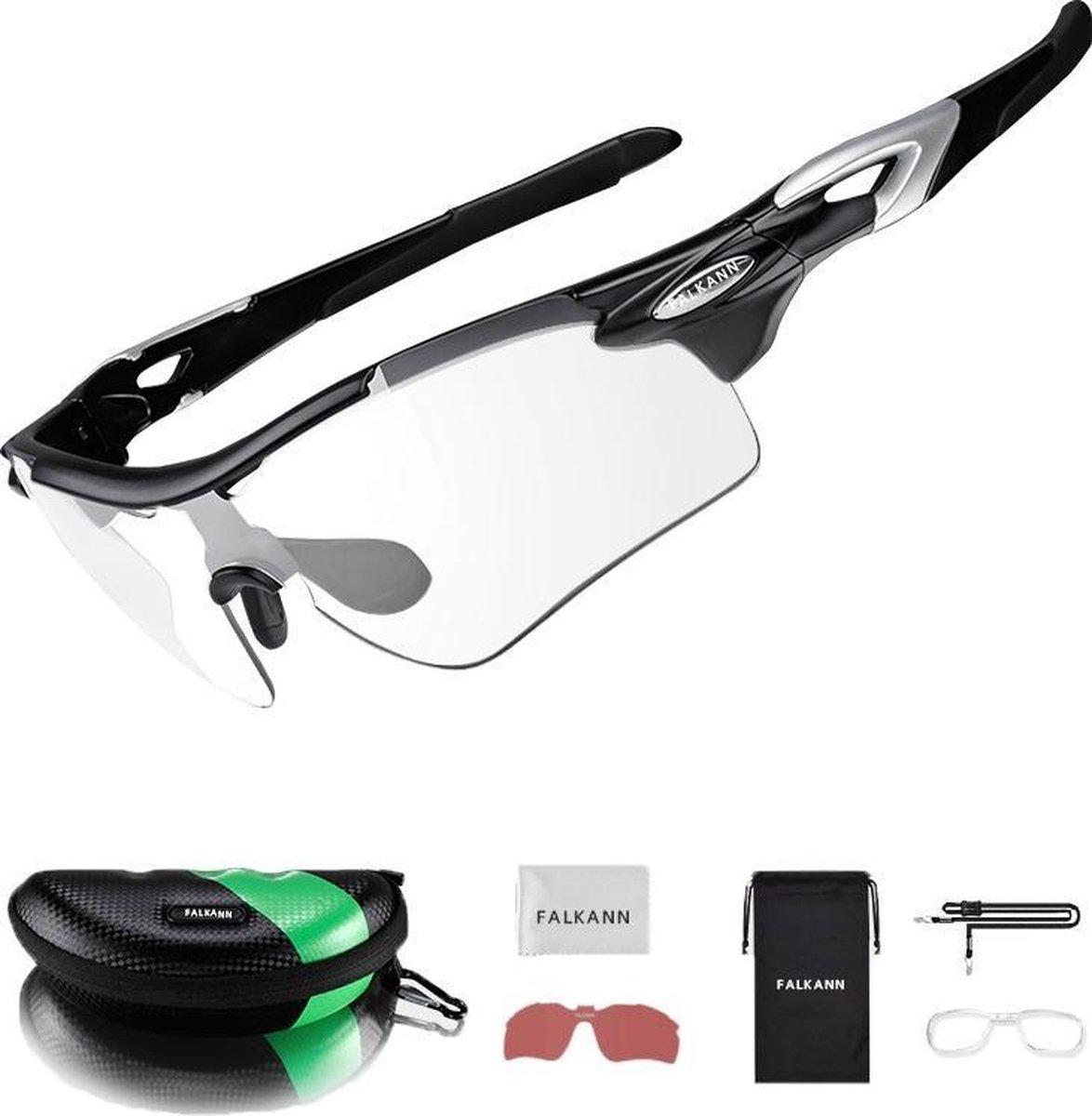 Falkann Fietsbril / Sportbril Zwart - Gepolariseerde & Meekleurende Glazen