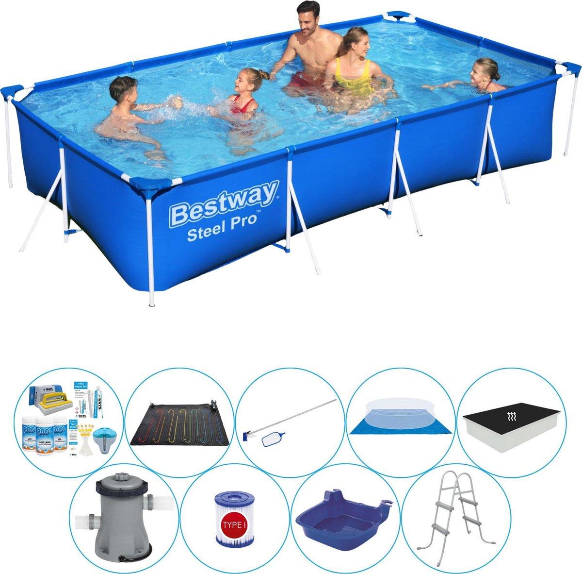Deluxe Zwembad Set - Bestway Steel Pro Rechthoekig 400x211x81 cm