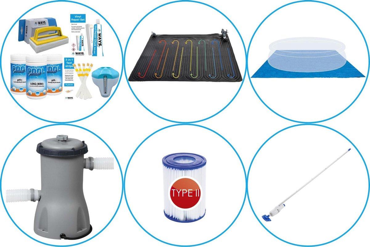WAYS - Zwembad Accessoirepakket 6-delig - WAYS Onderhoudspakket & Zwembad verwarming & Filterpomp (58383) & Zwembad filters Type II & Onderhoudsset & Grondzeil