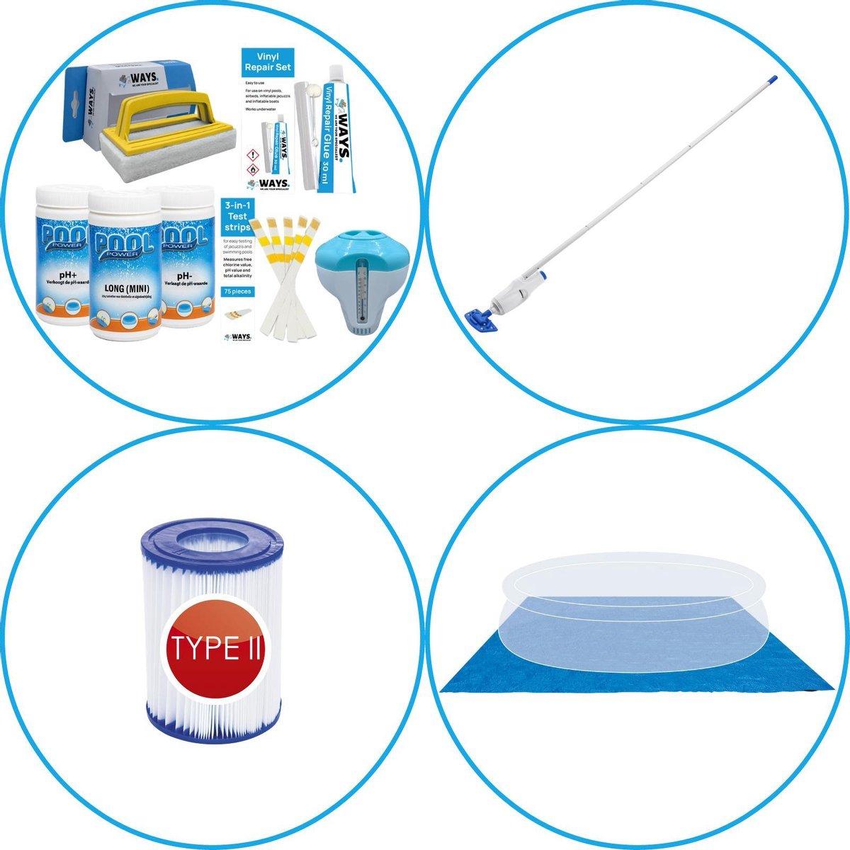 WAYS - Zwembad Accessoirepakket 4-delig - WAYS Onderhoudspakket & Zwembad filters Type II & Zwembad stofzuiger & Grondzeil