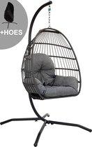 Hangstoel voor Binnen & Buiten. Opvouwbare Egg Hangstoel met Standaard. Met Frame, Kussen & Beschermhoes. Hangstoel Cocon volwassenen & kinderen. Belastbaar tot 150 kg. VITA5 (Grijs)