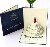 Verjaardagskaarten met envelop - Wenskaarten verjaardag - Blauw - Happy Birthday - 3D pop up kaarten taart - kinderen - cadeau - verjaardagskaart