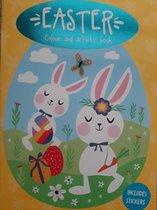 Groot A4 Kleurboek Pasen met stickers - paashaas kinderen - Tekenboek - Kleurboek meisjes - Kleurboek jongens -Tekenen - Kleuren - Kleurboeken voor kinderen - paasstickers