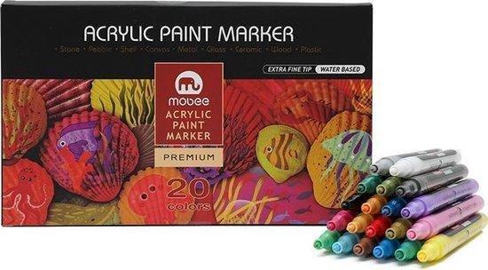 Afbeelding van Acryl Stiften 0.7 MM  - 20 Kleuren - Acrylstiften Voor Stenen Schilderen - Acrylverf Stiften - Tekenset - Happy Stones - Acryl Marker
