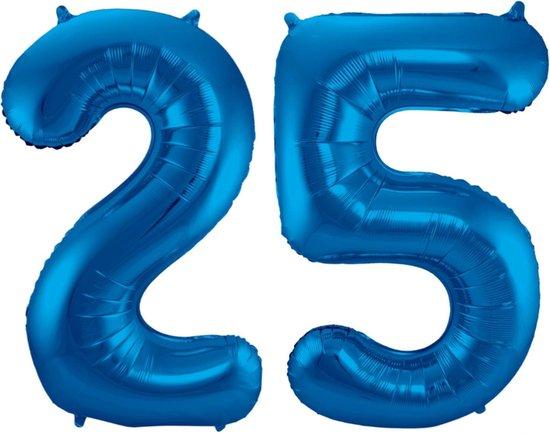 Ballon Cijfer 25 Jaar Blauw 70Cm Verjaardag Feestversiering Met Rietje