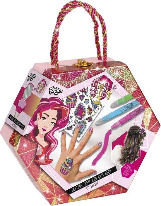 Totum Bling Bling - Tattoo, nagel & haardeco beauty set met glitter haar scrunchy  - in luxe glitter bewaarkoffer