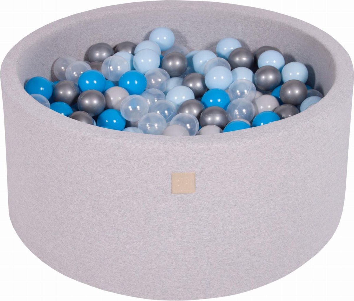 Ronde Ballenbak set incl 300 ballen 90x40cm - Licht Grijs: Blauw, Transparant, Babyblauw, Zilver