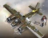 Junkers JU 88 Bommenwerper Vliegtuig Bouwpakket met Soldaten voor Lego® - Plane - Oorlog - Leger - Gevechtsvliegtuig - Fighter WW2 - 559 Bouwstenen - Toy brick Lighting