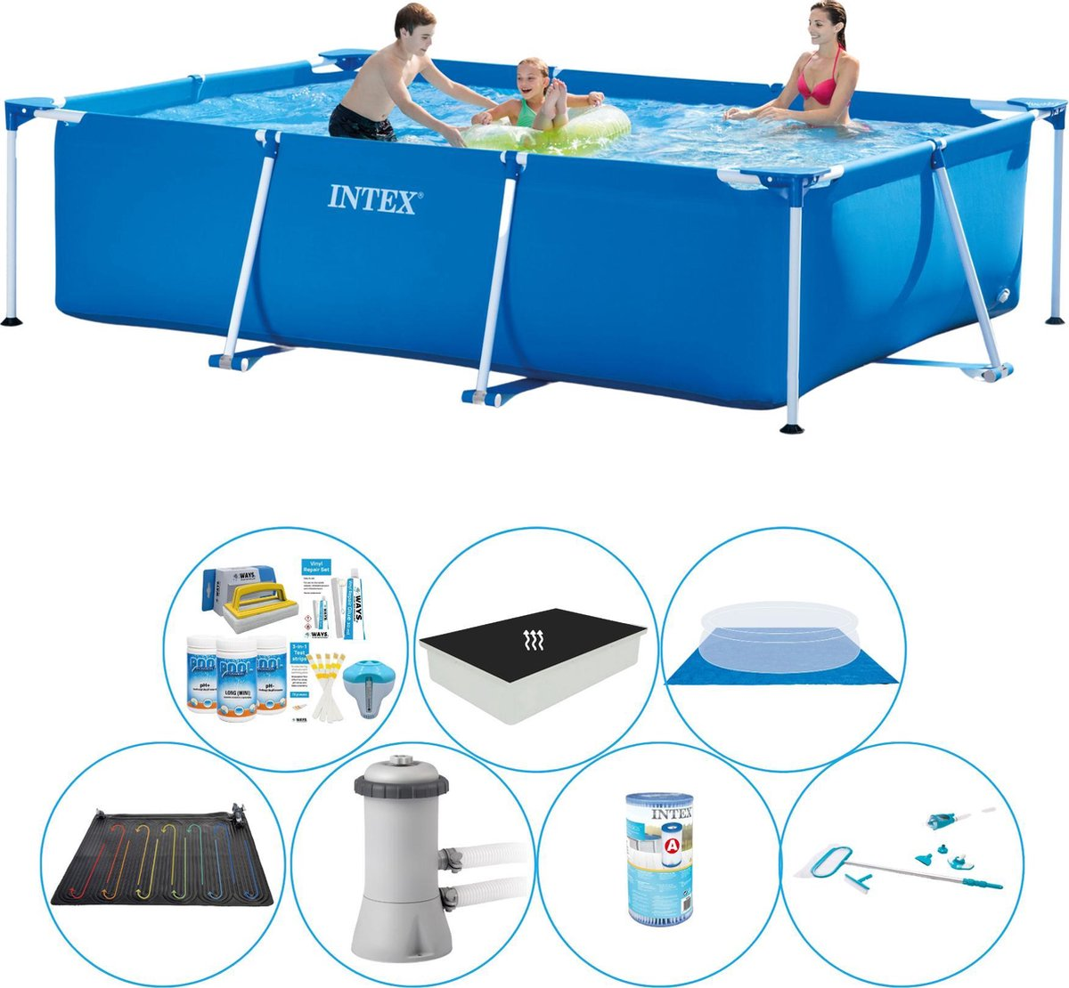 Intex Frame Pool Rechthoekig 300x200x75 cm - Alles in 1 Zwembad Set
