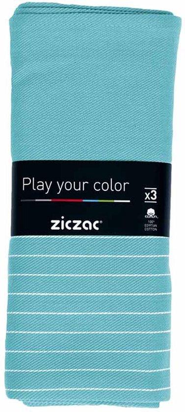 Ziczac Theedoek - Katoen - 50x70cm - Set 3 Stuks - Turquoise