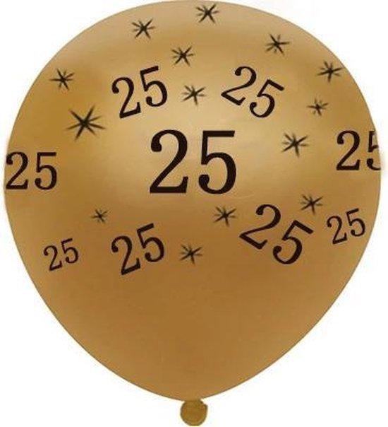 JDBOS ® 10 ballonnen (goud) met zwarte opdruk verjaardag 25 jaar