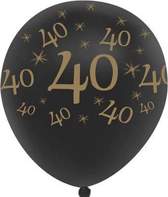JDBOS ® 10 ballonnen (zwart) met gouden opdruk verjaardag 40 jaar