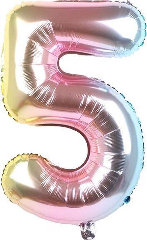 Folieballon / Cijferballon Multicolor XL - getal 5 - 82cm