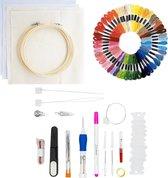 Punch needle pakket - Borduurpakket – Punch naald – Borduurring – Borduurnaalden – 50 kleuren borduurgaren - Punch needle starterset – Borduurpakketten voor volwassenen en kinderen – Hobby creatief