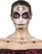 Day of the Dead Face Tattoo Transfers Kit Red & Black Facepaints Crayon & Applicators