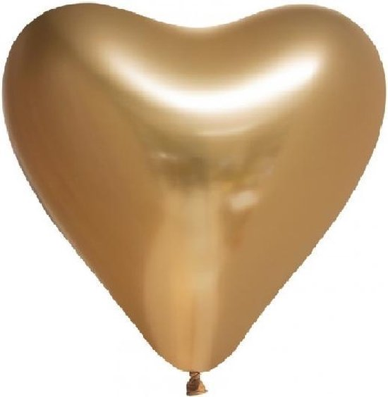 Chrome chroom hart Ballonnen Goud 12 inch=30cm – per 6st.