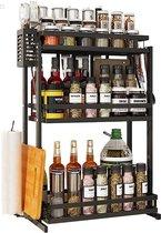 Luxe Kruidenrek staand - Inklapbaar - Opgeruimd aanrecht - Ruimtebesparend - Spice Rack - Keukenrek - RVS - Zwart
