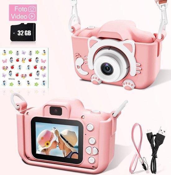 Ilona® Digitale Kindercamera HD 1080p inclusief stickervel   32GB micro sd kaart  Roze