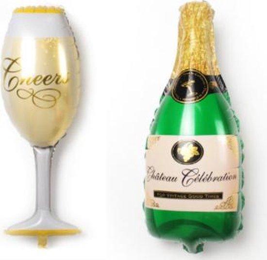Champagne en Wijn Ballonnen set 2 stuks - 100cm - Jubileum - Opening - Oud en Nieuw - Ballonnen - Helium Ballon - Folie Ballon - Verjaardag - Thema feest - Dranken - Verjaardag - Folie ballon - Leeg - Versiering