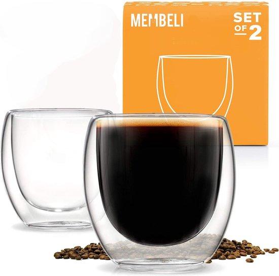 Membeli Espresso Kopjes Dubbelwandig Glas - Set van 2 - 80 mL - Espresso Glazen - Espressokopjes