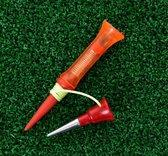 Onbreekbare Golf Tee - 2 stuks - 360 graden rotatie met een veer - 79MM - Polypropyleen-P - Golf accessoire - Golfballen - Golftas - Golfen - golfset - Kleurrijk en vrolijk design - golfclub - afslaan