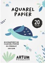 Aquarelblok Aquarelpapier voor Aquarelverf - A4 Papier - Schetsboek - Schilderen - Handlettering - Waterverf - 20 Vel