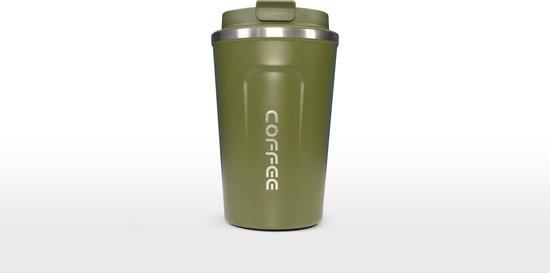Koffiebeker To Go | Herbuikbare Koffiebeker | Thermosbeker Auto | Duurzame Koffie Beker | Thermosfles | RVS Reisbeker | Dubbelwandige Travel Mug | 380 ml | Groen