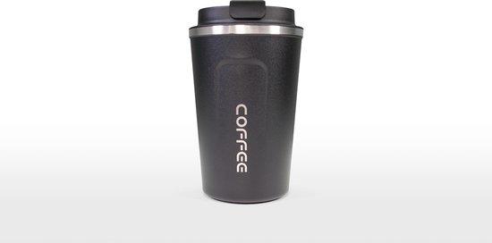 Koffiebeker To Go | Herbuikbare Koffiebeker | Thermosbeker Auto | Duurzame Koffie Beker | Thermosfles | RVS Reisbeker | Dubbelwandige Travel Mug | 380 ml | Zwart
