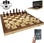 Wisely - Schaakspel XL - Luxe Schaakset - Schaken - Schaakbord Met Schaakstukken - Chess - Gratis Schaakboekje Met Openingszetten - Hout - 38cm bij 38 cm - Inklapbaar