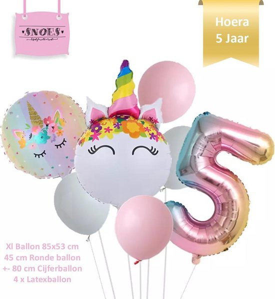 Unicorn * Eenhoorn * Ronde Ballonnen Set * Hoera 5 jaar * Cijfer 5 Ballon * Snoes * Verjaardag * Kinderfeest * Versiering eenhoorn * Set + Gratis Rietje