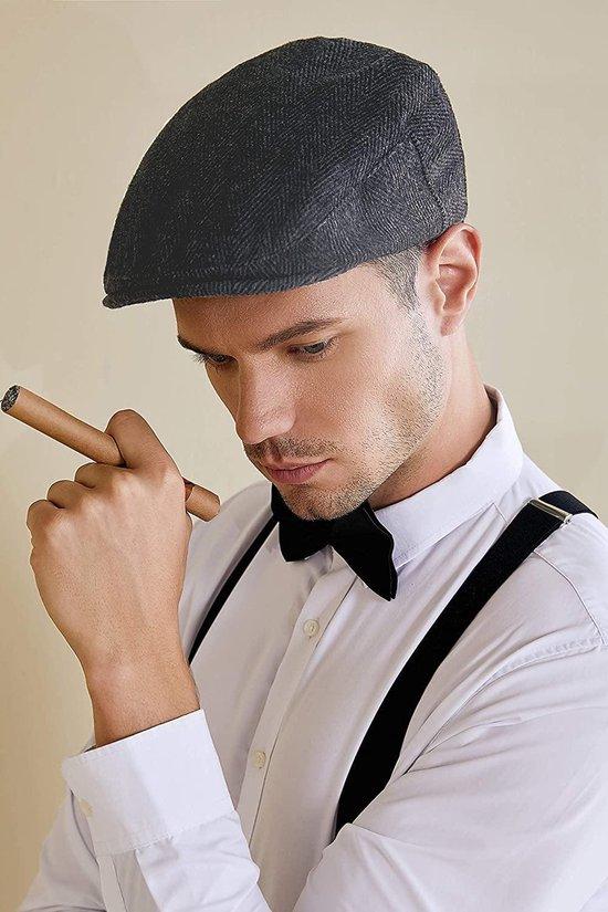 Merkloos - Trendy flat cap mooie kwaliteit - Peaky Blinders zwart visgraat - Modieuze gevoerde Vintage flat cap 1920 - heren hoed - Franse hoed - cap voor cabrio - krantenjongens hoed