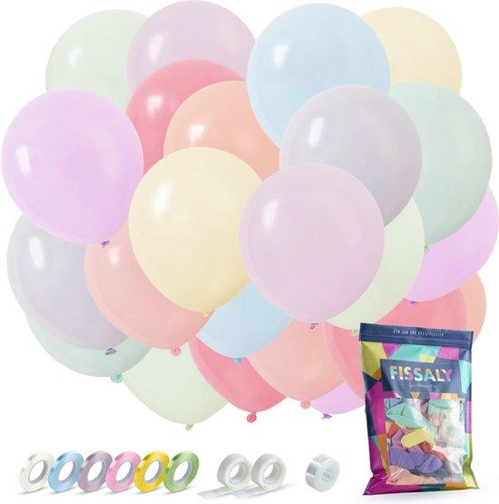 Fissaly® 120 Stuks Gekleurde Pastel Helium Latex Ballonnen – Verjaardag Feest Versiering – Decoratie