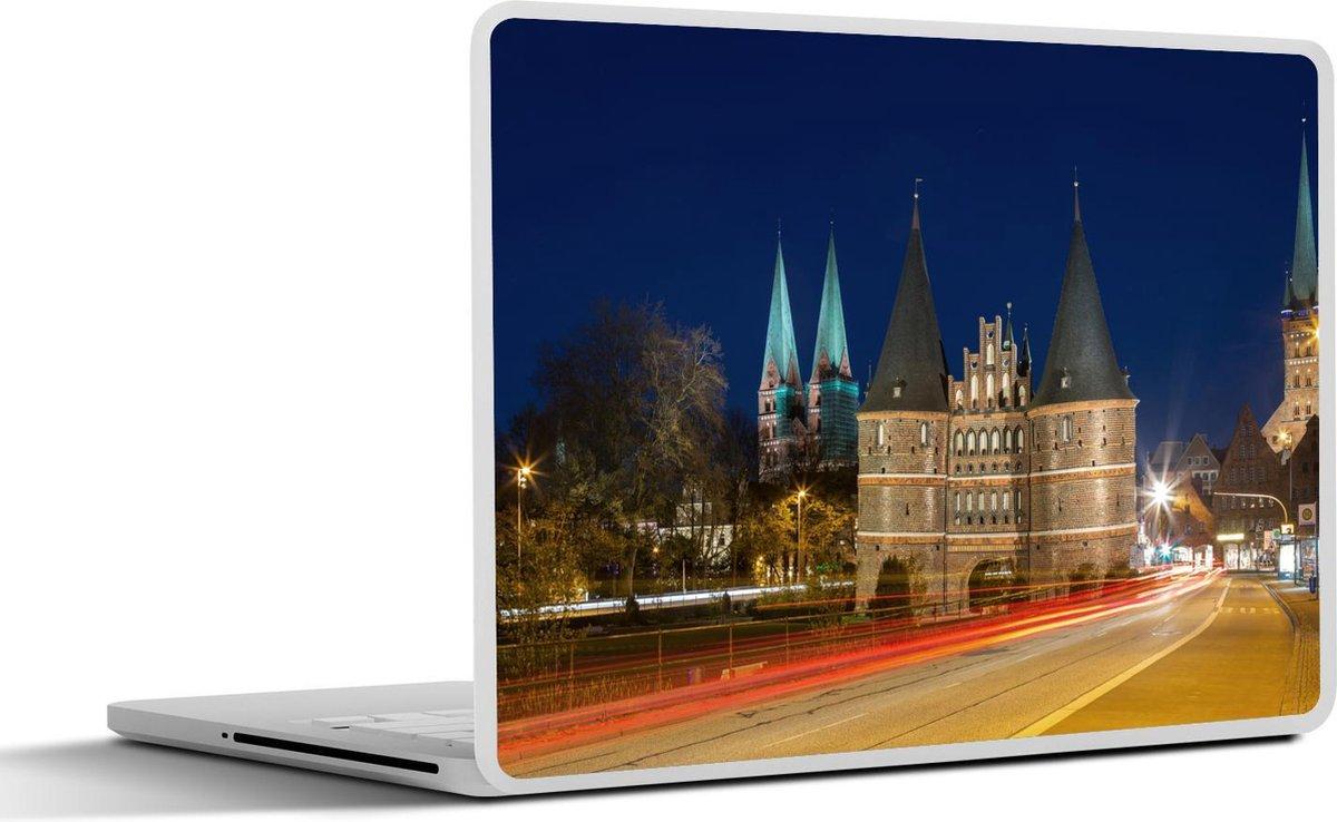 Laptop sticker - 11.6 inch - Drukke straten in het centrum van het Duitse Lübeck