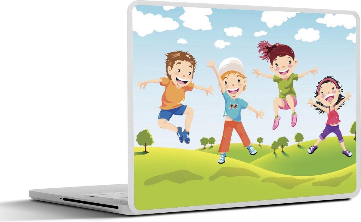 Laptop sticker - 10.1 inch - Illustratie van kinderen uit een familie die springen
