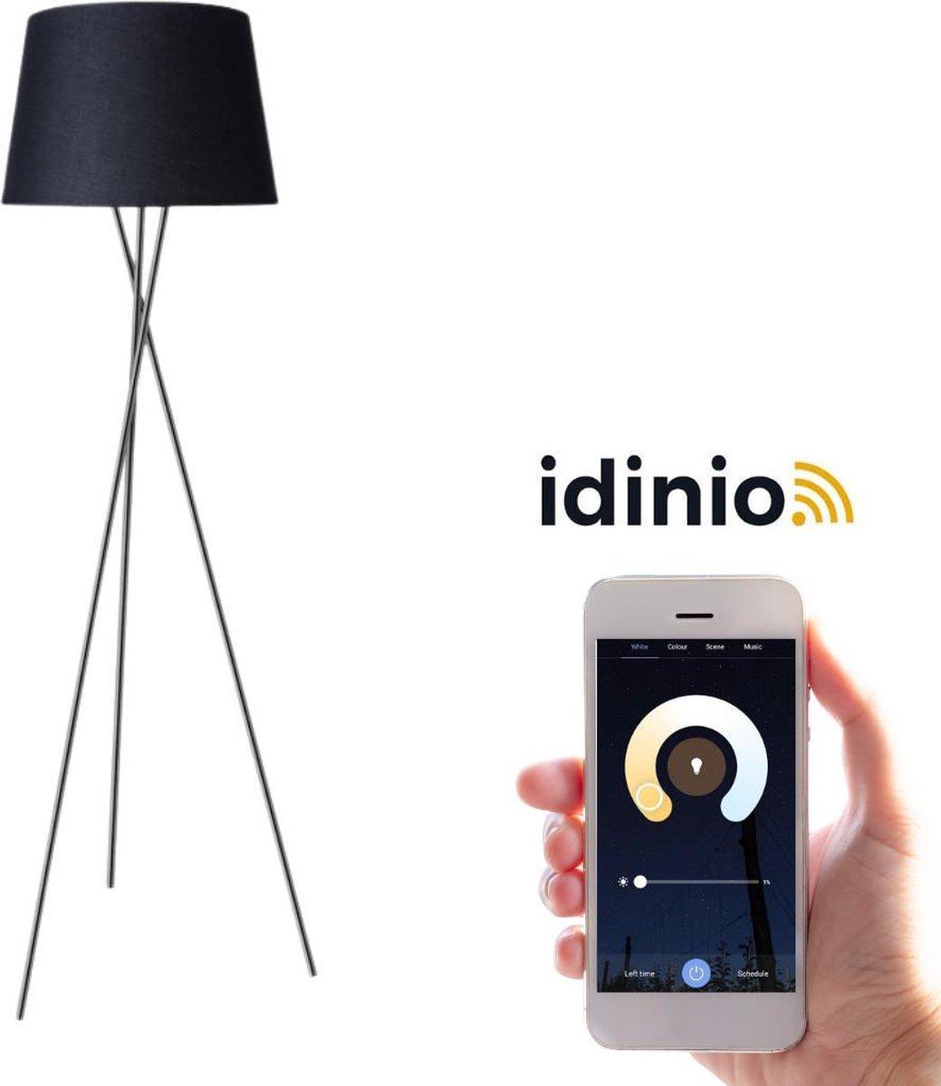 Proventa Smart vloerlamp - Dimbaar & bedienbaar via App - Warm wit - Zwart