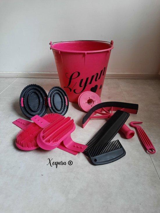 10 Delig gepersonaliseerde Roze poets emmer- manenkam-zweetmes-bitringen-roskam-paardekam-hoefkrabber-Glitter-NEON- Pony-Paard- poetsen-Roze