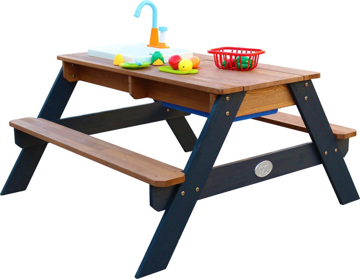 AXI Emily Zand & Water Picknicktafel met Speelkeuken wastafel Antraciet/bruin - Incl. 17-delige accessoire-set