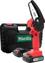 Mardin - Mini kettingzaag - Snoeizaag - Kettingzaag - Kettingzaag Electrisch met 2 Accu - Inclusief Koffer -  1 Extra Accu - Rood