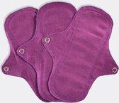 Eco Femme Inlegkruisjes 3-Pack (ZONDER pul) - 100% Biologisch Katoen - Paars