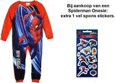 Spiderman Marvel Onesie - Pyjama - Rood. Maat 116 cm / 6 jaar. + EXTRA 1x Spiderman spons stickers.