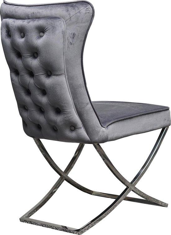 Industrial Living Luxe Fluwelen Eetkamerstoel-Velvet-Velours-Landelijk-Modern-Industrieel-Stoel Zonder Armleuning-Dining Chair- Verkrijgbaar In Set van 2/4/6/8-RVS-Antraciet