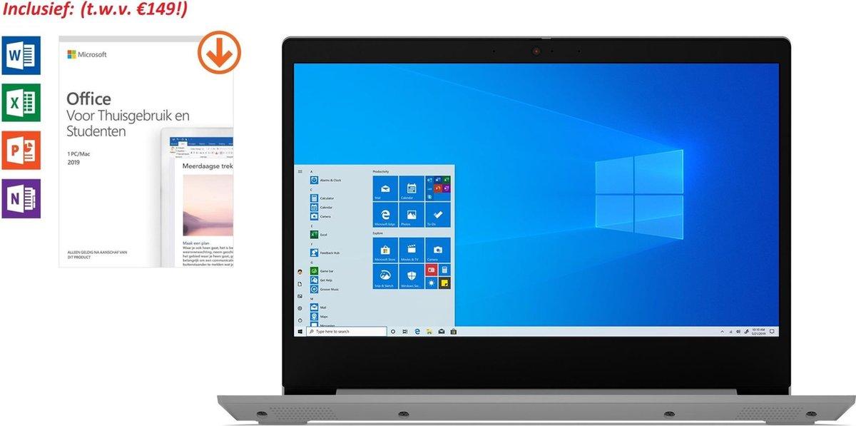 Lenovo ideapad 3 - 14 inch - AMD Athlon 3050U - 4GB werkgeheugen - 128GB SSD - Windows 10 Home - incl. Office 2019 Home & Student t.w.v. €149! (Word, Excel, PowerPoint, OneNote) & Gratis BullGuard Antivirus (voor 1 jaar)