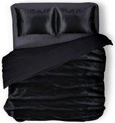 Elegance Silk Dekbedovertrek Glans Satijn - Black - 200x200/220cm - 2 Persoons - Met 2 Kussenslopen 60x70