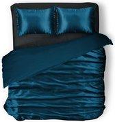 Elegance Silk Dekbedovertrek Glans Satijn - Midnight Blue - 200x200/220cm - 2 Persoons - Met 2 Kussenslopen 60x70