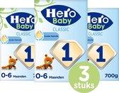 Hero Baby Standaard Classic 1 - zuigelingenvoeding (0-6mnd) - 3 STUKS - met melkvet & zonder palmolie - flesvoeding - babymelk - 3 verpakkingen