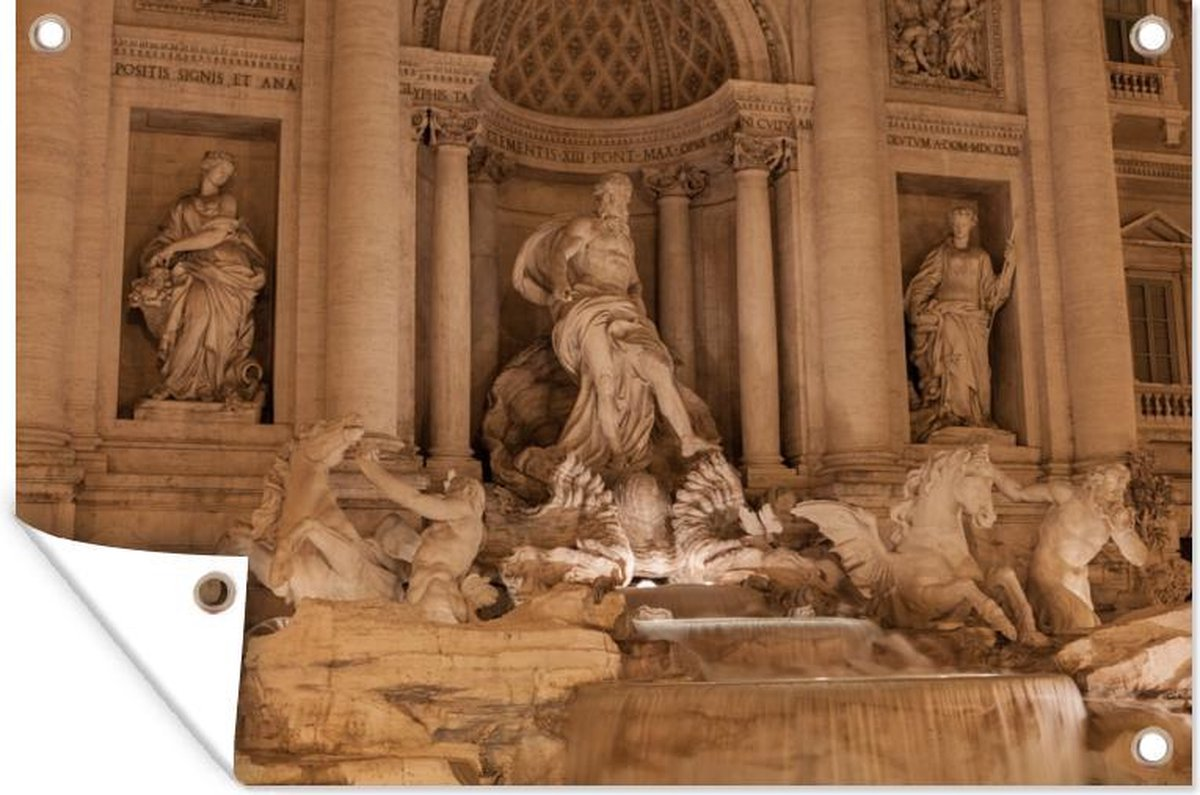 Tuinposter Rome - Fontein - Water - 120x80 cm - Tuin